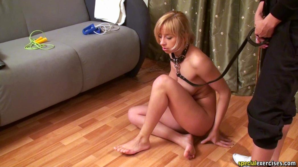 leashed Asian slavegirl