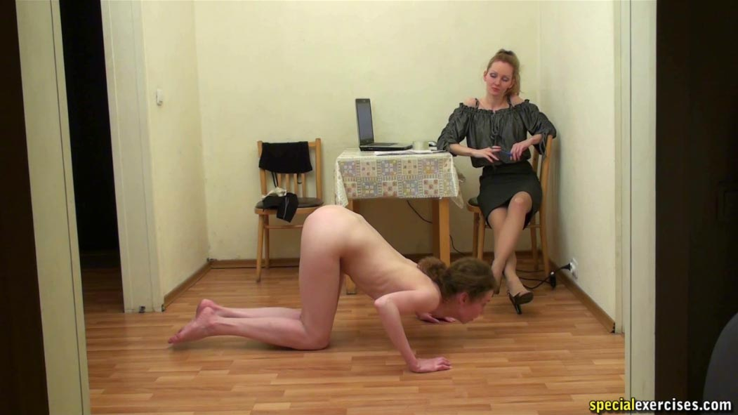 Special nude training for redhead woman